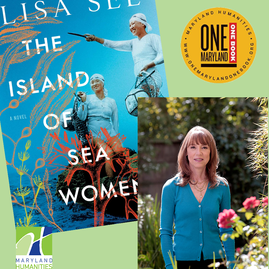side by side image of Lisa See and the Book cover for The Island of Sea Women