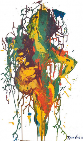 Multicolor splatter painted image of the body profile of a pregnant mother by the artist Kamilah House